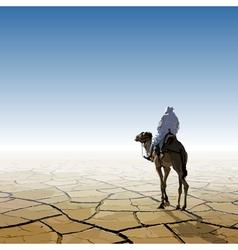 Man on a camel going through the desert vector