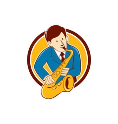 Musician playing saxophone circle cartoon vector