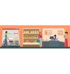People shopping in a supermarket concept vector image