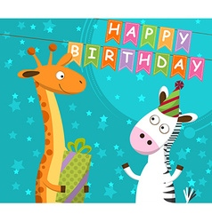 Postcard with giraffe and zebra which celebrate vector image vector image