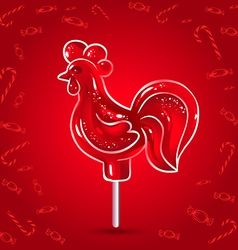 Red rooster lollipop symbol of the new year vector image