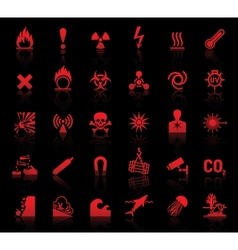 Set danger red icons vector image