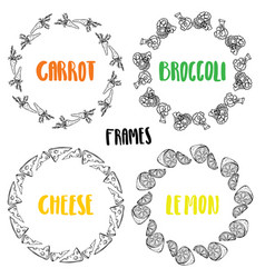 Set frames carrot broccoli lemon cheese vector