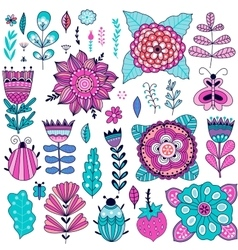 Set of flowers graphic collection vector image vector image