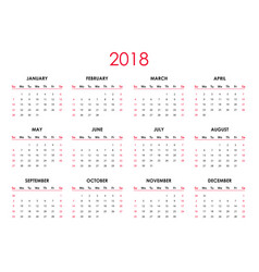the 2018 calendar vector image vector image