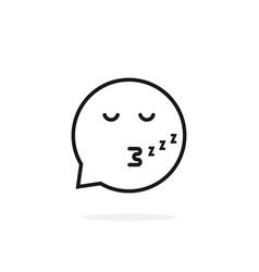 Thin line sleeping emoji speech bubble logo vector