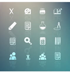 Tools learning set on retina background vector