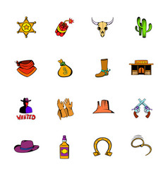 Wild west icons set cartoon vector