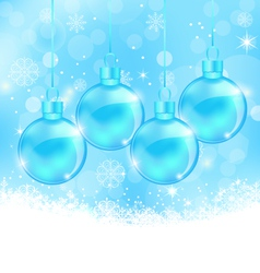 Winter snowflakes background with christmas glass vector