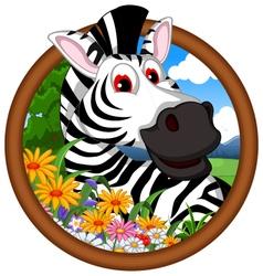 zebra cartoon in frame vector image vector image