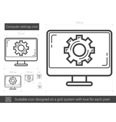 Computer settings line icon vector