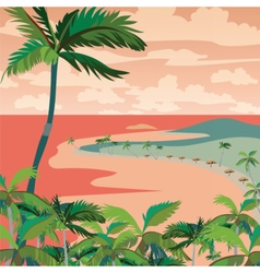 Sunset Tropic Beach with Palm trees vector image