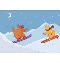 Teddy bears ski in mountains night vector