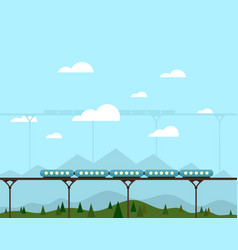 Train on a bridge vector