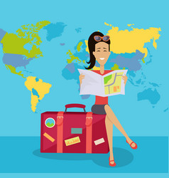 Smiling brunette woman seating on suitcase vector