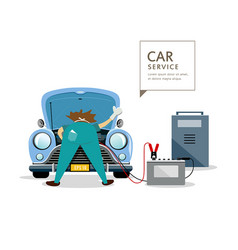 car mechanic workers in blue car service engine vector image