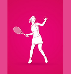 Woman tennis player sport woman pose vector