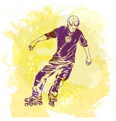 Roller skating grunge trend handcrafted splash vector