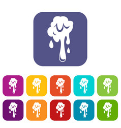 Dripping slime icons set flat vector