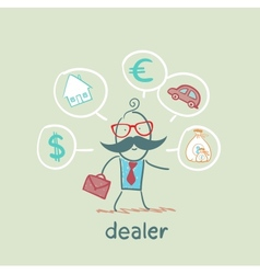 Dealer thinks about currencies house car money vector