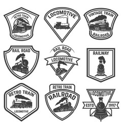 Set of the emblems with vintage trains isolated on vector