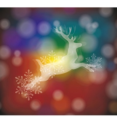 christmas card with stylized white deer with vector image