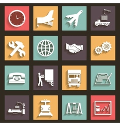 Shipment and transportation icons symbols flat vector