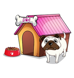 A dog outside the doghouse vector