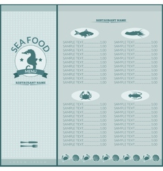 Seafood restaurant menu vector
