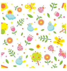 Spring season object icons seamless pattern vector