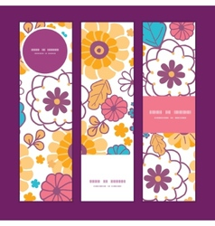 Colorful oriental flowers vertical banners vector