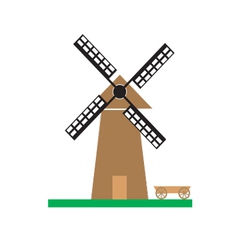 Windmill on the green meadow vector