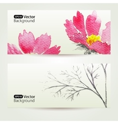 Two floral watercolor banners with pink flowers vector