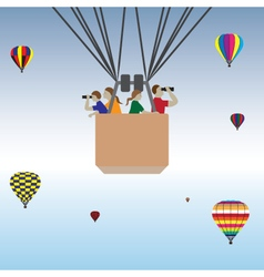 Family hot air balloon ride vector