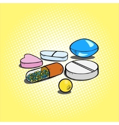 Pills hand drawn pop art style vector