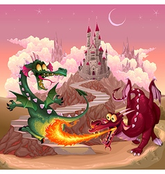 Funny dragons in a fantasy landscape with castle vector