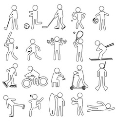 Sport silhouettes black simple outline icons set vector
