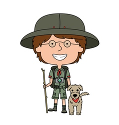 Happy boy scout with his fluffy dog vector