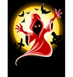 frightful Halloween midnight ghost vector image