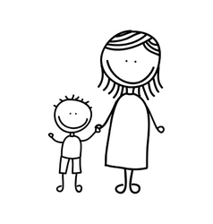 Mother with son drawing isolated icon design vector