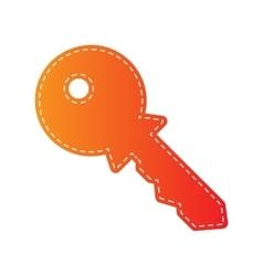 Key sign  orange applique isolated vector