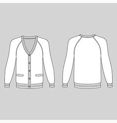 Blank long sleeve raglan cardigan vector image vector image