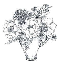 Bouquet with hand drawn flowers and plants in the vector image vector image