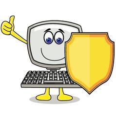 Cartoon computer with shield vector