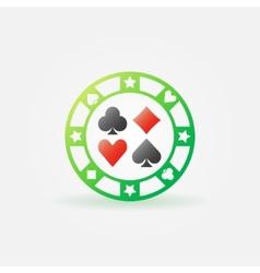 Casino green chip icon vector image