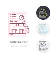 Coffee machine line icon barista equipment vector