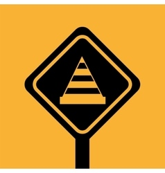 Construction building cone attention icon vector