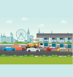 driver cars passing through to pay road toll at vector image vector image