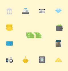 Flat icons accounting cash stack till and other vector