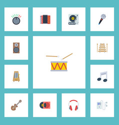 Flat icons musical instrument earphone harmonica vector